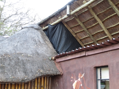 Workers used shade cloth to block up a hole in the roof at Wilderness Camp where monkeys could enter.