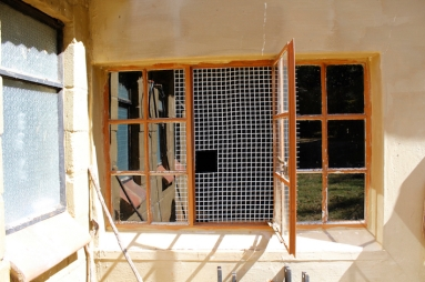Grills are placed on windows to keep monkeys from entering.