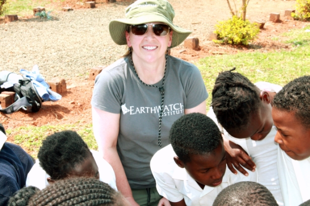 An Earthwatch volunteer playing the predator game with a school in Kutama in September.
